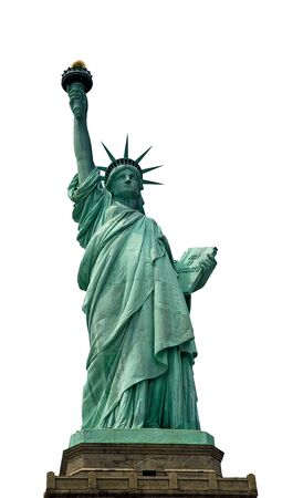 liberty statue: Closeup of the Statue of Liberty on Liberty Island, isolated, white background Stock Photo