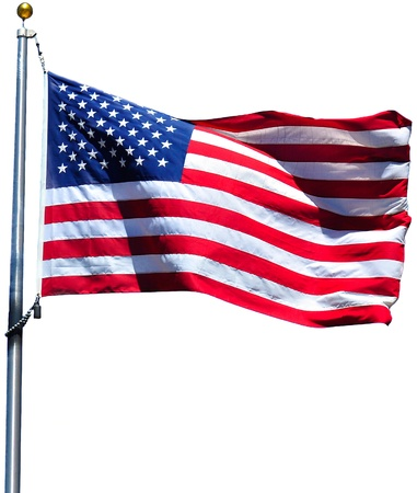 rippling: American flag waving in the wind, isolated