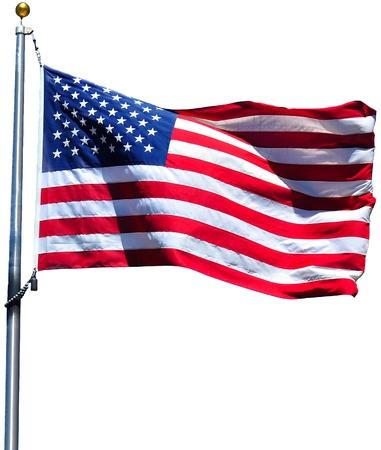 banderas america: Bandera estadounidense ondeando al viento, aislado
