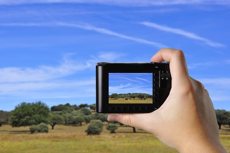 Someone taking a picture of a rural landscape, using a point-and-shoot camera