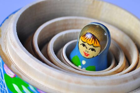 russian nesting dolls: The smallest of the Matrioska Russian Dolls, inside the others