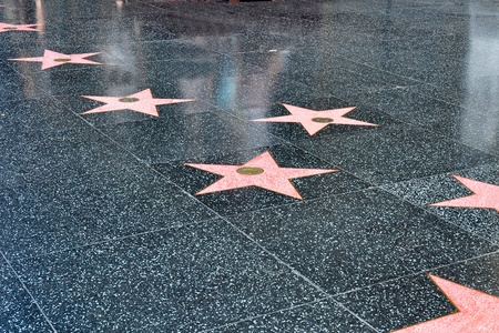 Stars in the sidewalk along the Hollywood walk of fame