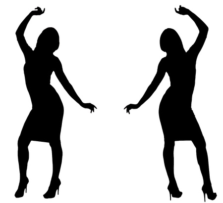 sexy woman silhouette: Isolated silhouettes of two Sexy Female Models Dancing.