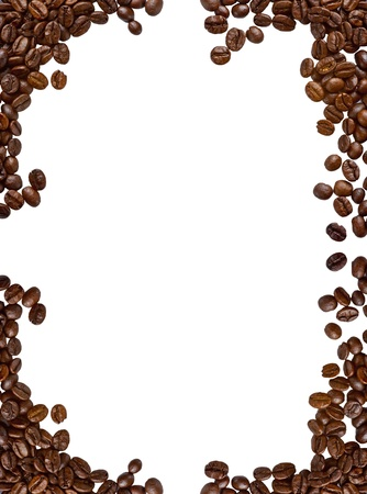 A frame made of coffee beans, with isolated background.