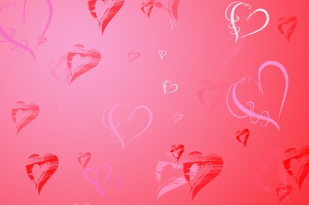 Valentines Day background frame with Hearts in red and pink photo