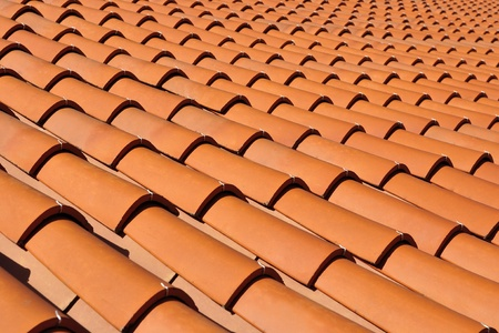 rooftiles: Orange roof tiles made from a ceramic material