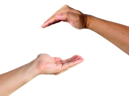 facing: Two hands facing each other, representing protection