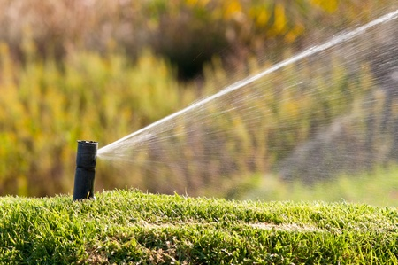 agricultural machinery: Sprinkler watering a lawn during a sunny day