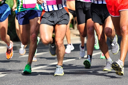 running shoes: Group of marathon racers running