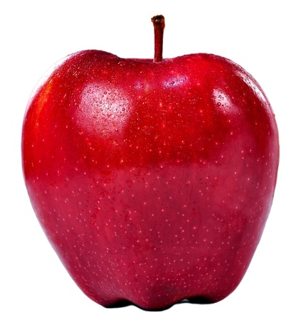 Isolated frontal shot of a fresh red apple with stem and drops of water on it. Stock Photo