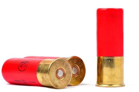 gun shell: 12 proyectiles calibre shtogun rojo utilizado para la caza