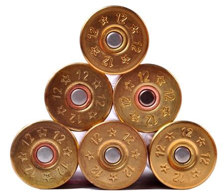 gun shell: 12 proyectiles calibre shtogun utilizados para la caza Foto de archivo