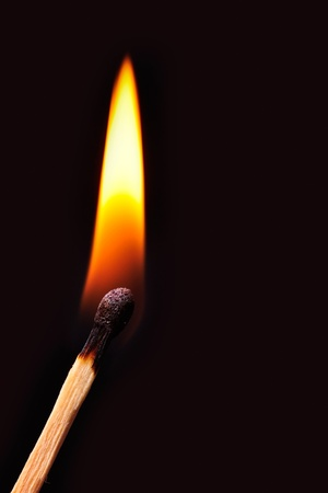 matchstick: Match burns in a black background