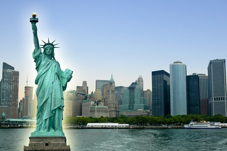 New York City with Statue Liberty, photo collage. Reklamní fotografie