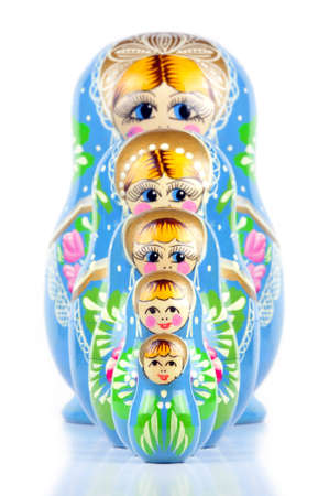 matriosca: Matrioska Russian Doll, hand-painted, isolated in white background, shadow underneath