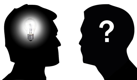 questionmark: Silhouette of two men, one with a light bulb on his head to illustrate the concept of having an idea and the other with a question mark on his head to illustrate the concept of doubt Stock Photo