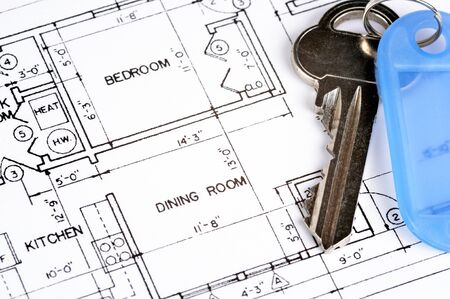House blueprint with a key on top of it Stock Photo - 13139123