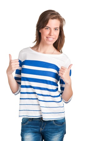 Attractive young woman giving the thumbs-up, isolated on a white background Stock Photo - 13586735