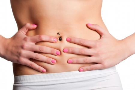 flatulence: Woman suffering from stomach pain