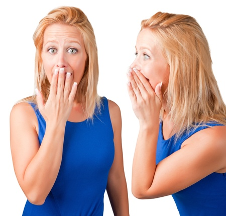 gossiping: Woman talking and another woman listening Stock Photo