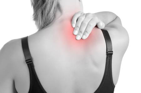 soreness: Young woman with pain in the back of her neck