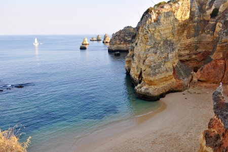 Lagos: High view of D.Ana Beach in Lagos, Algarve, Portugal close to the sunset Stock Photo