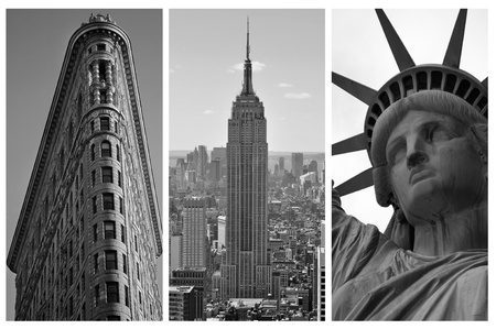 triptych: NEW YORK - SEPTEMBER 5: New York black and white triptych featuring the Flat Iron building, the Empire States Building and the Statue of Liberty, city landmarks, on September 5, 2010 in New York, NY