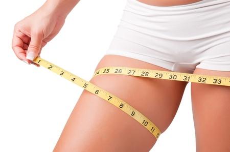 thighs: Mujer medir su muslo con una cinta métrica amarilla Foto de archivo
