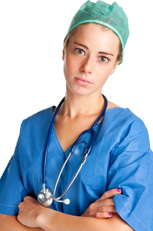 Young female surgeon with scrubs and a stethoscope Stock Photo - 15941571