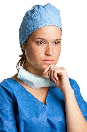 Young female surgeon focused on her next surgery Stock Photo - 16053783