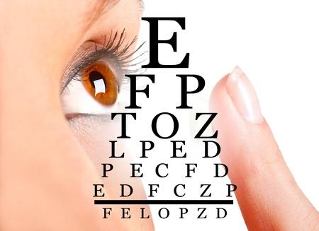 Close-up van een vrouw het plaatsen van een contactlens in haar oog Stockfoto