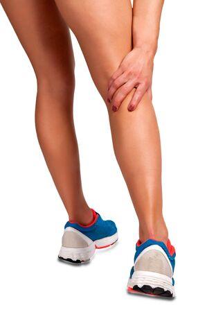 female jogger: Jogger Mujer con dolor en su pierna, aislado en blanco Foto de archivo
