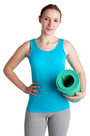 isoalated: Woman holding a yoga mat, isoalated in a white background
