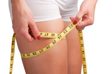 Vrouw meten haar dij met een geel meetlint