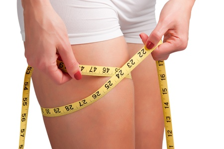 lose weight: Woman measuring her thigh with a yellow measuring tape