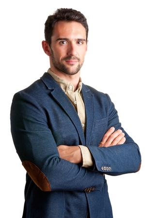 Casual business man with arms crossed in a white background