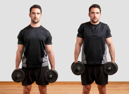 shrugs: Personal Trainer doing dumbbel shrugs for training his trapezius Stock Photo