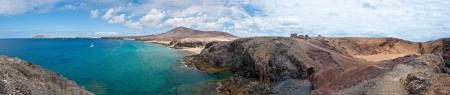 lanzarote: Panorama van Papagayo Beach in Lanzarote, Canarische Eilanden