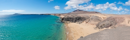 Panoramana of Papagayo Beach in Lanzarote, Canary Islands Фото со стока