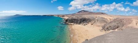 lanzarote: Panoramana of Papagayo Beach in Lanzarote, Canary Islands Stock Photo