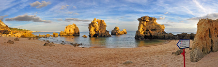Panorama of Arrifes Beach in Albufeira, Algarve, Portugal photo
