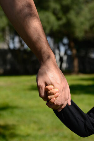 Closeup of a father and son holding hands in a park photo