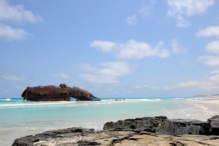 Beach with a ship Wreck in Cabo de Santa Maria, Boa Vista Island in Cape Verde