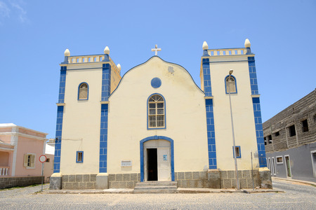 Santa Isabel Church in Sal Rei, Boa Vista, Cabo Verde Фото со стока
