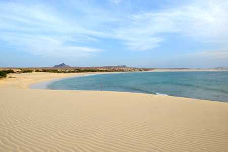 Praia de Chaves Beach in Boa Vista, Capo Verde, at Sunset Stock Photo