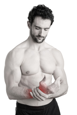 Male with pain in his wrist, isolated in a white background, black and white, red around the paintful area photo