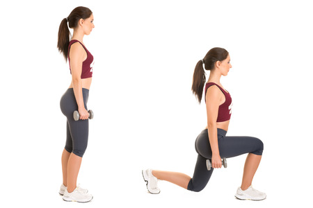 squat: Woman doing lunges isolated in a white background