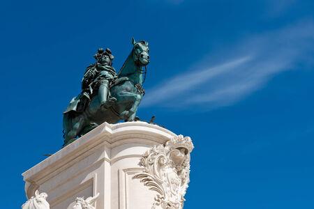 The Equestrian Statue of King Jose I in praca do Comercio in Lisbon, Portugal