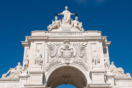 augusta: Detalle del arco triunfal de calle Augusta en Lisboa, Portugal