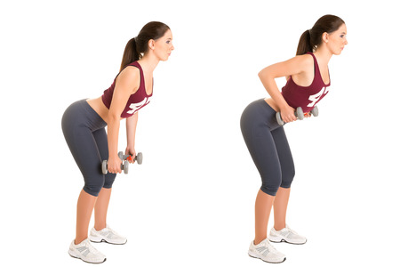 Personal Trainer doing bent over rows for training her lats, isolated in white